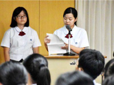 鵬翔中で発表会がありました(9月26日)
